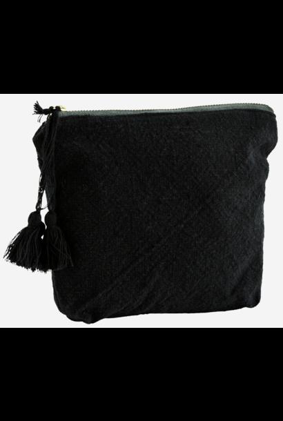 Toilettas cotton tassels 20x14cm Black