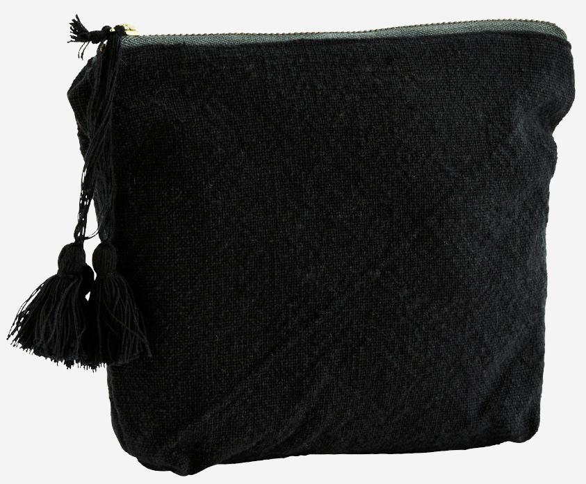 Toilettas cotton tassels 20x14cm Black-1