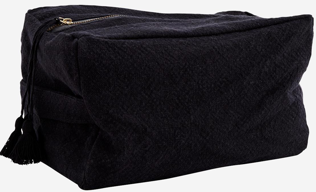 Toilettas cotton tassels 25x15cm Black-1
