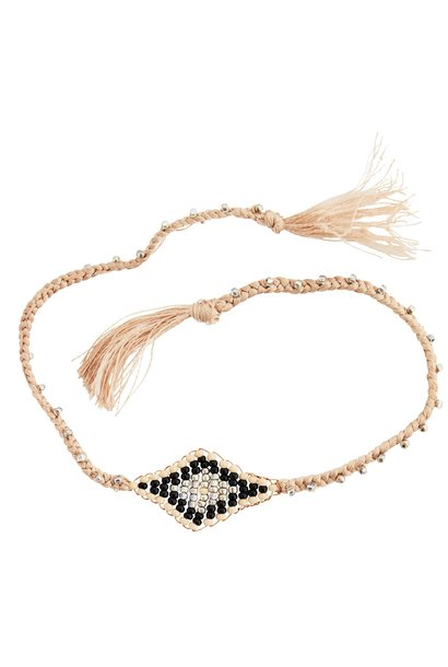 Armband beads and tassels 30cm Natural