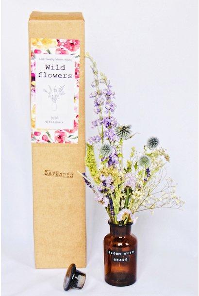 Droogboeket met vaas 250ml Lavendel