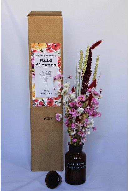 Droogboeket met vaas 250ml Pink