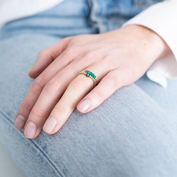 Ring Beauty Aventurine Gold Green-2