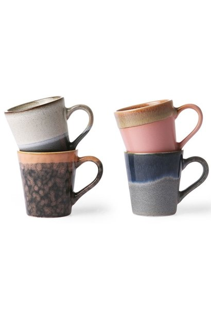 Mok set of 4 ceramic 70's espresso Multi