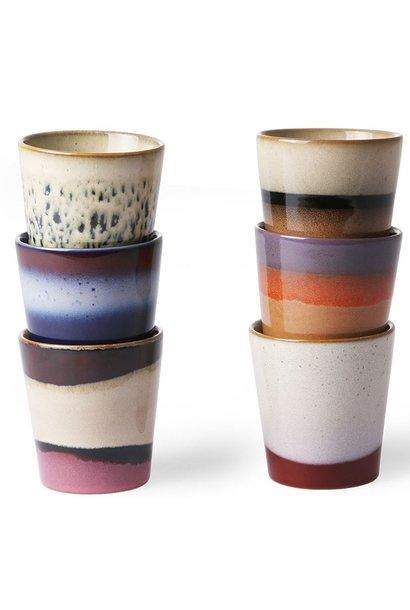 Mok Set of 6 ceramic 70's Multi