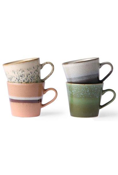 Mok ceramic 70's Cappuccino Multi set of 4