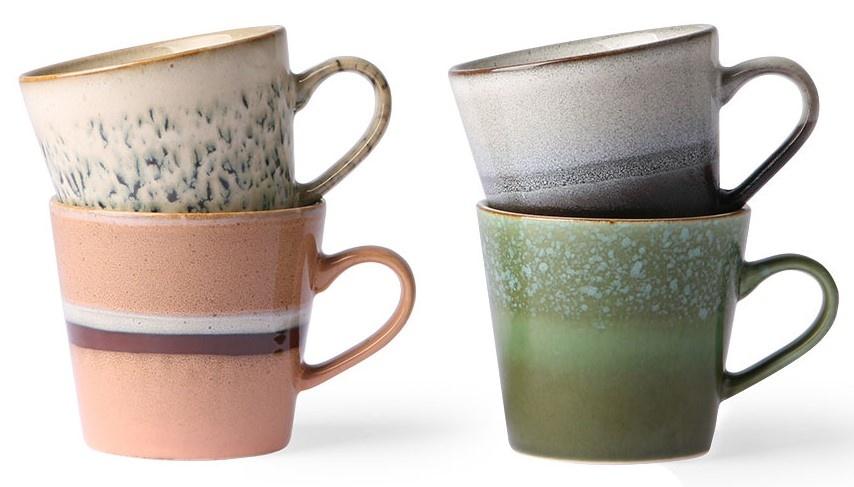 Mok ceramic 70's Cappuccino Multi set of 4-1