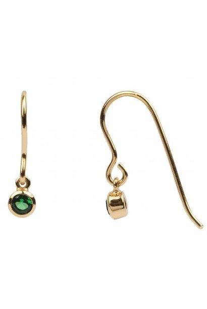 Oorbel PER STUK Hook Green Emerald Zirconia Gold