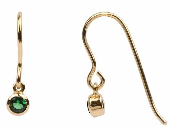 Oorbel PER STUK Hook Green Emerald Zirconia Gold-1