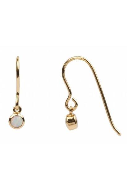 Oorring Hook White opal Gold
