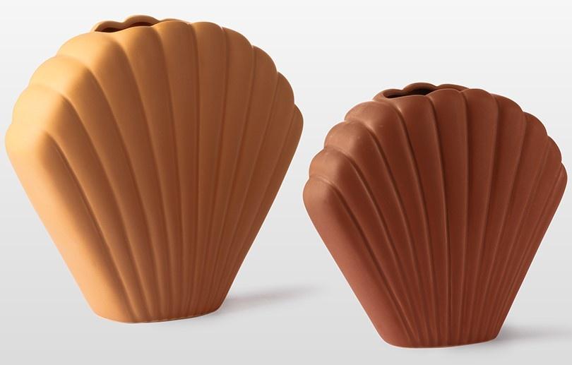 Vaas ceramic shell 19x18cm Brown-3