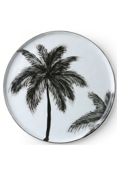 Bord ceramics porcelain palms Ø22cm Black White