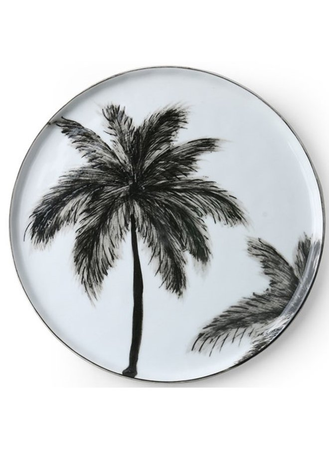 Bord bold & basic ceramics porcelain palms 22x22cm Black white