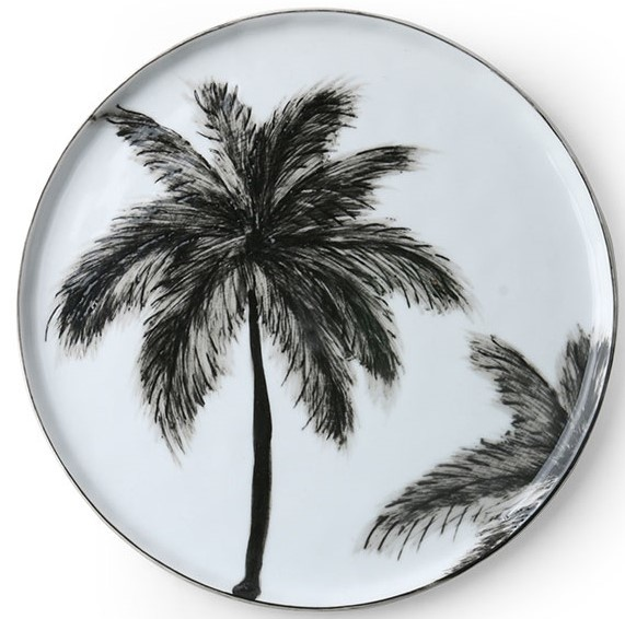 Bord ceramics porcelain palms Ø22cm Black White-1