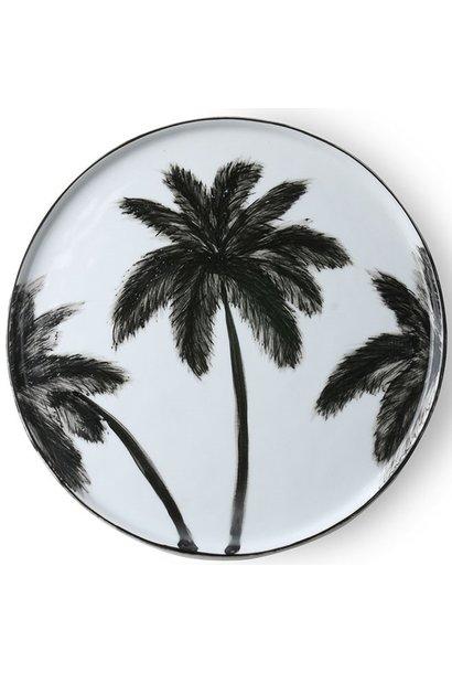 Bord ceramics porcelain palms Ø27cm Black White