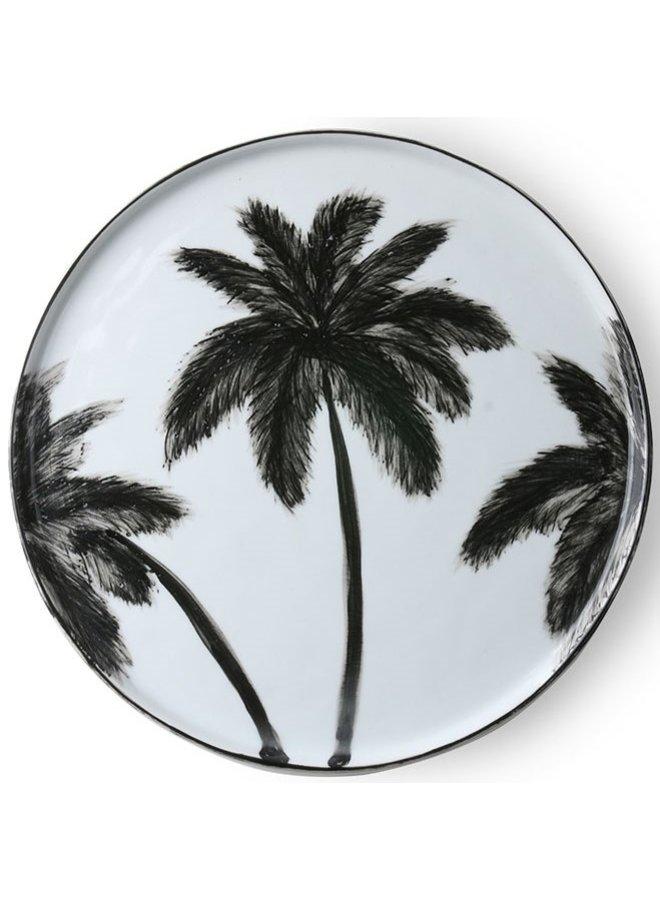 Bord bold & basic ceramics porcelain palms 27x27cm Black white