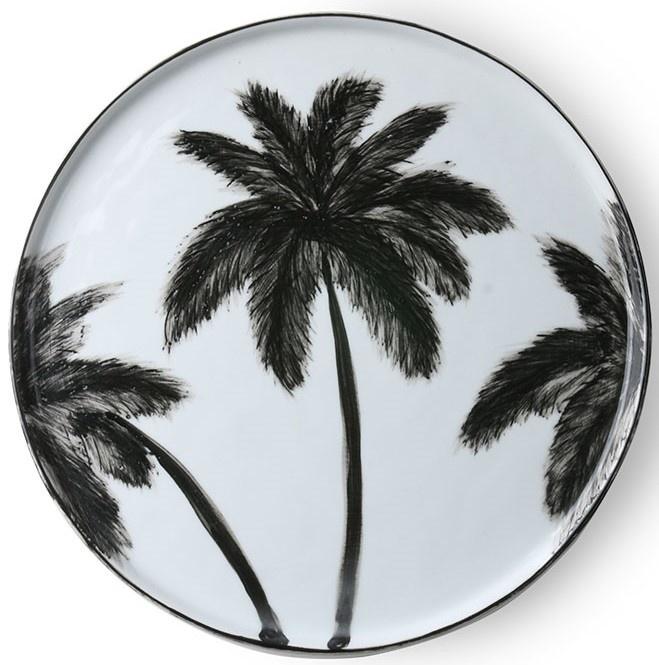 Bord ceramics porcelain palms 27x27cm Black White-1