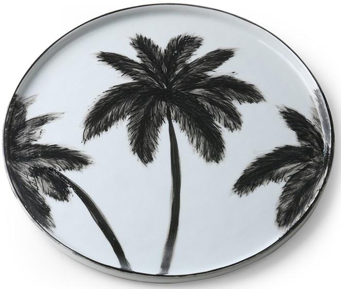 Bord ceramics porcelain palms 27x27cm Black White-3