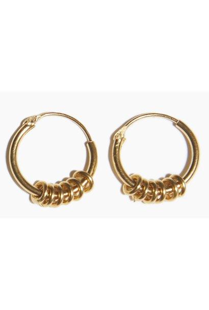 Oorbellen PER PAAR Multi Ring Hoop Gold Plated