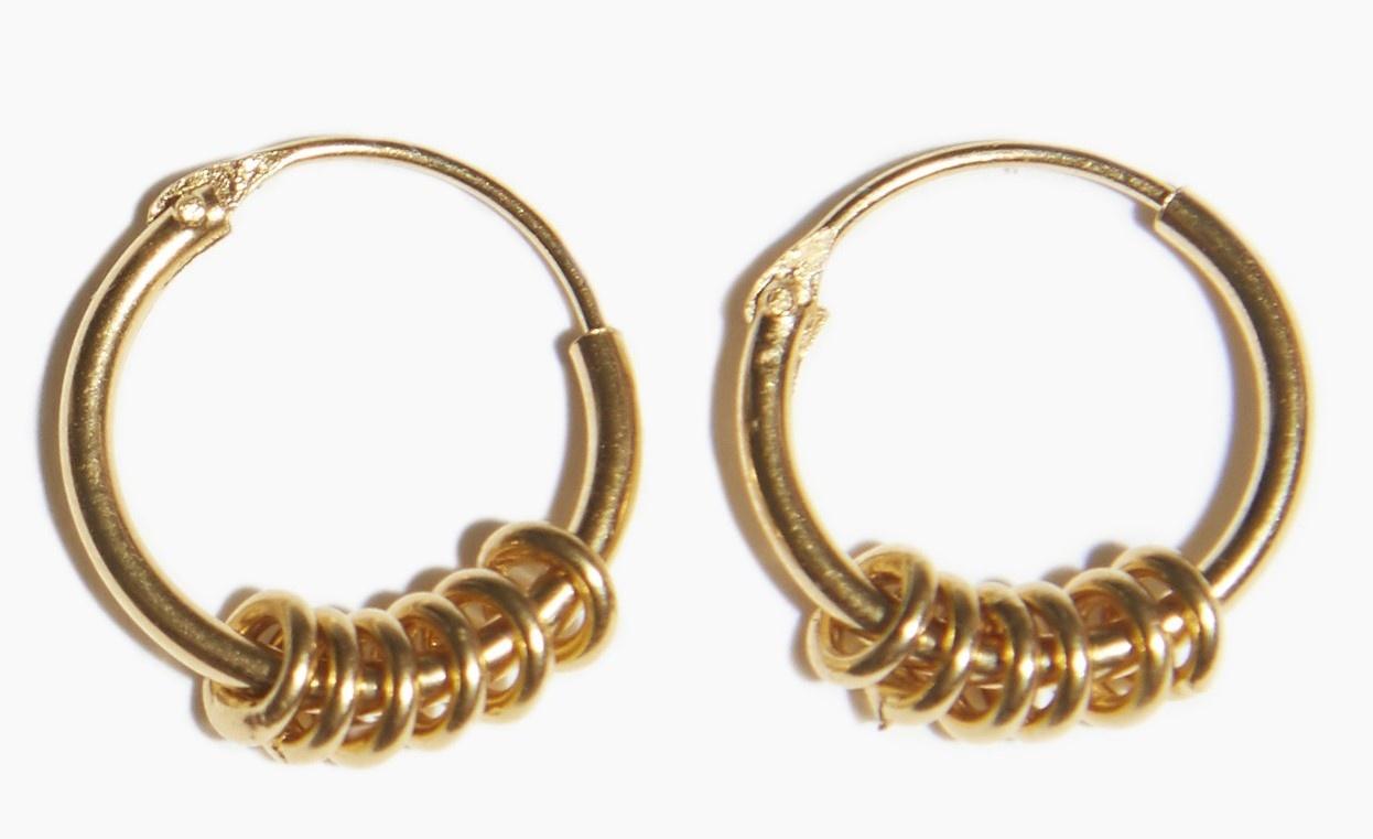 Oorbellen PER PAAR Multi Ring Hoop Gold Plated-1