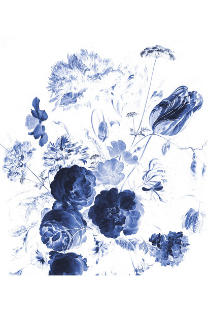 Behang Royal Blue Flowers XL 190x220cm