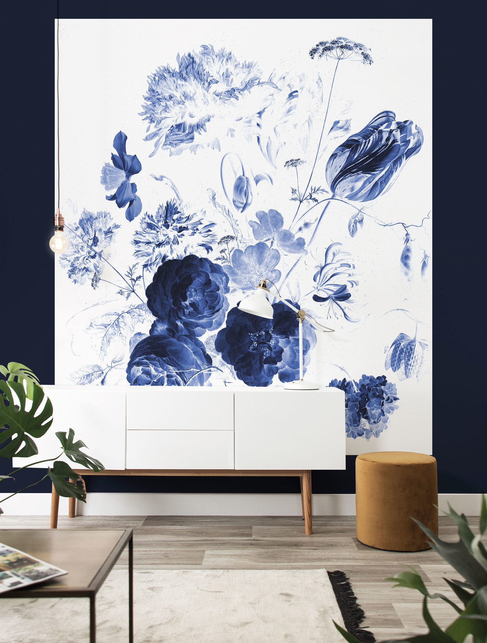 Behang Royal Blue Flowers XL 190x220cm-2