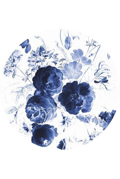 Behang Royal Blue Flowers Round Ø190cm