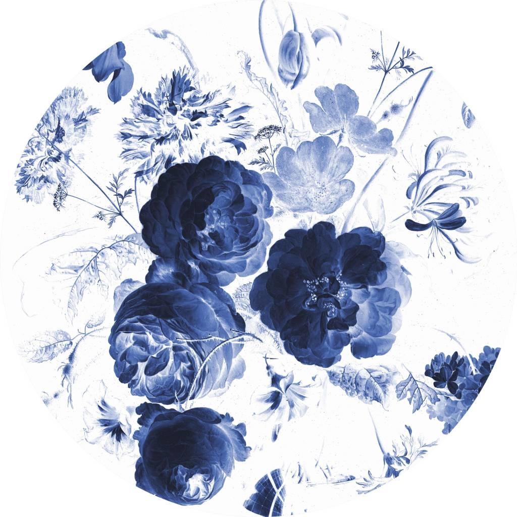 Behang Royal Blue Flowers Round Ø190cm-1
