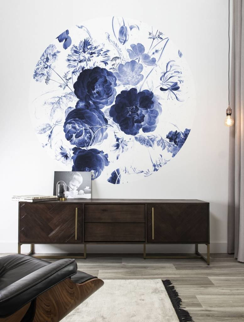 Behang Royal Blue Flowers Round Ø190cm-2