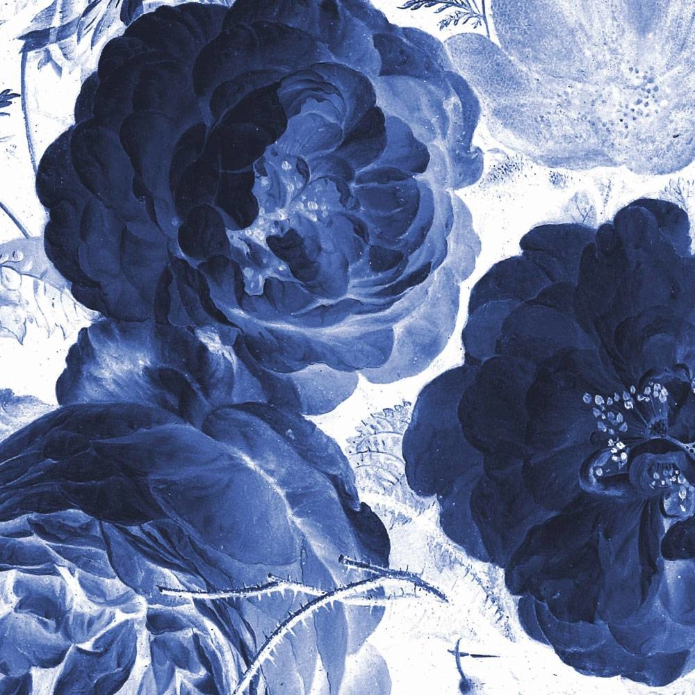 Behang Royal Blue Flowers Round Ø190cm-4