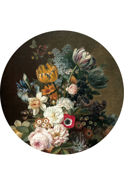 Behang Golden age Flowers Round Ø190cm