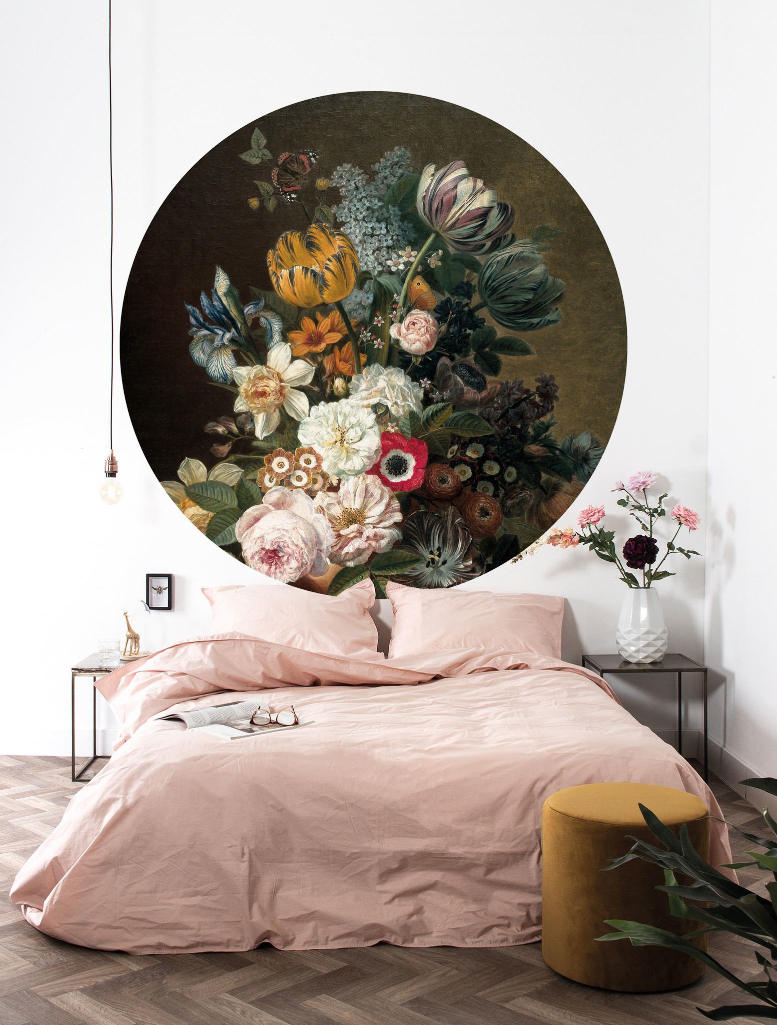 Behang Golden age Flowers Round Ø190cm-2