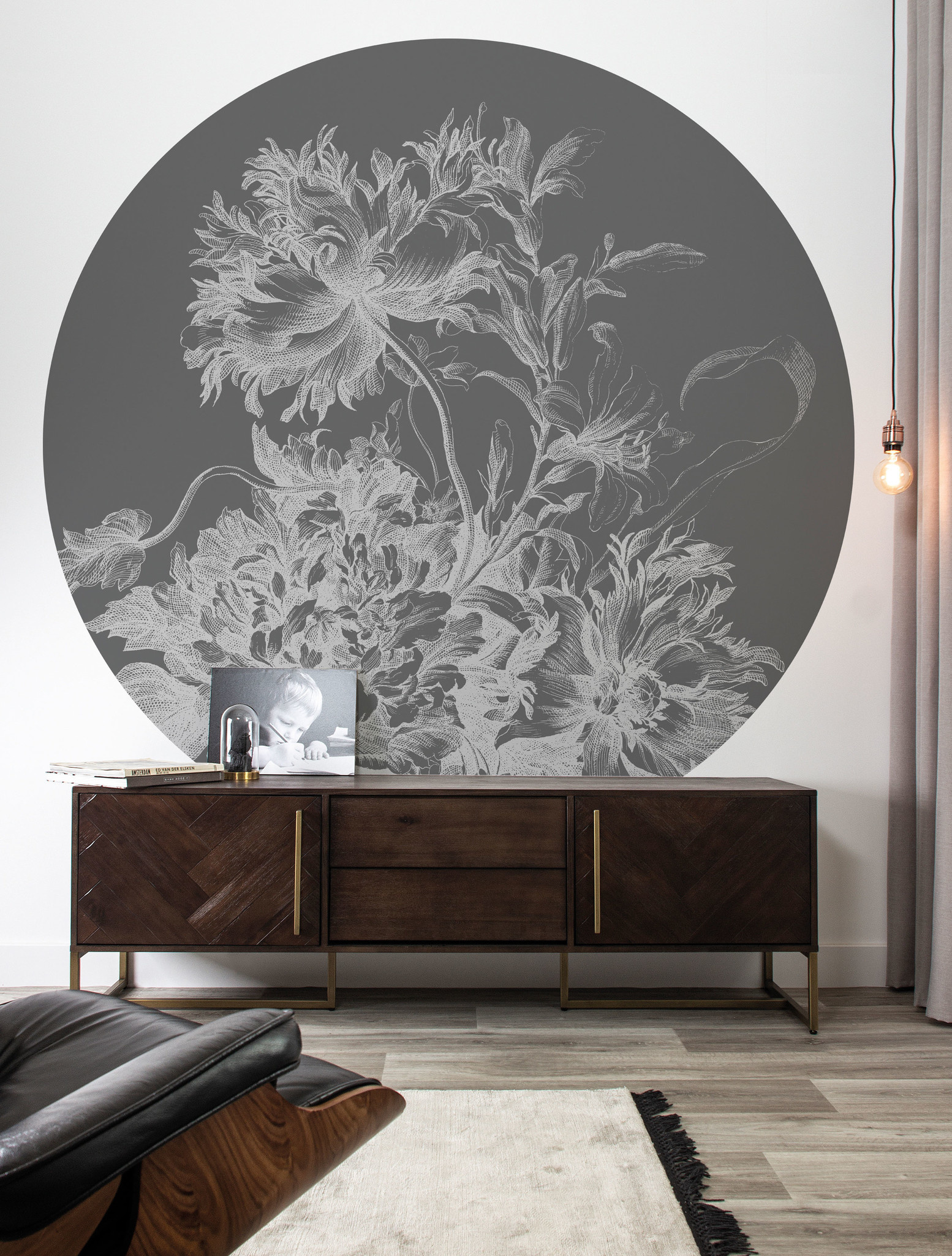 Behang Engraved Flowers XL Round Ø237.5cm-2