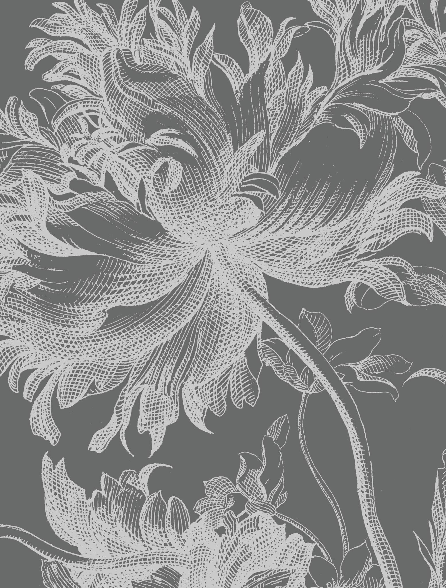 Behang Engraved Flowers XL Round Ø237.5cm-4