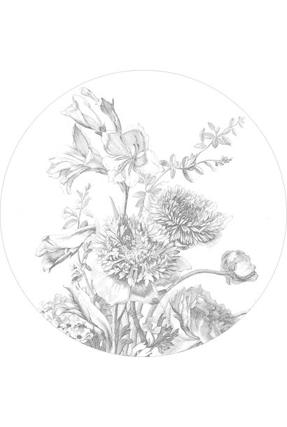Behang Engraved Flowers Round Ø190cm