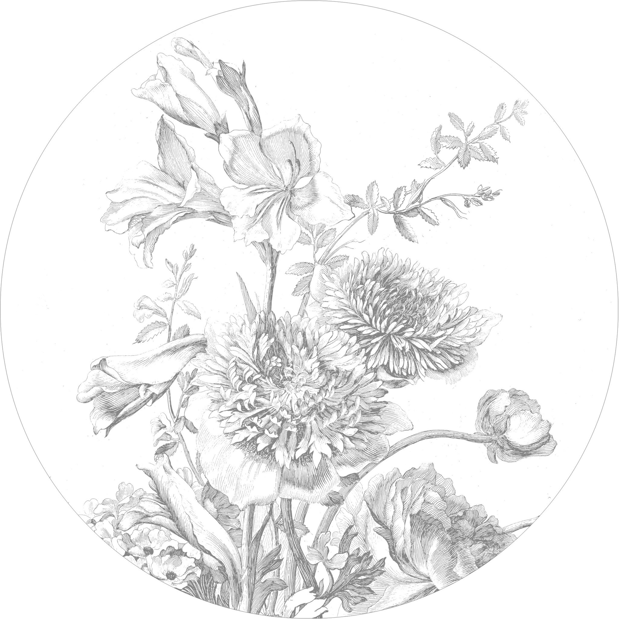 Behang Engraved Flowers Round Ø190cm-1