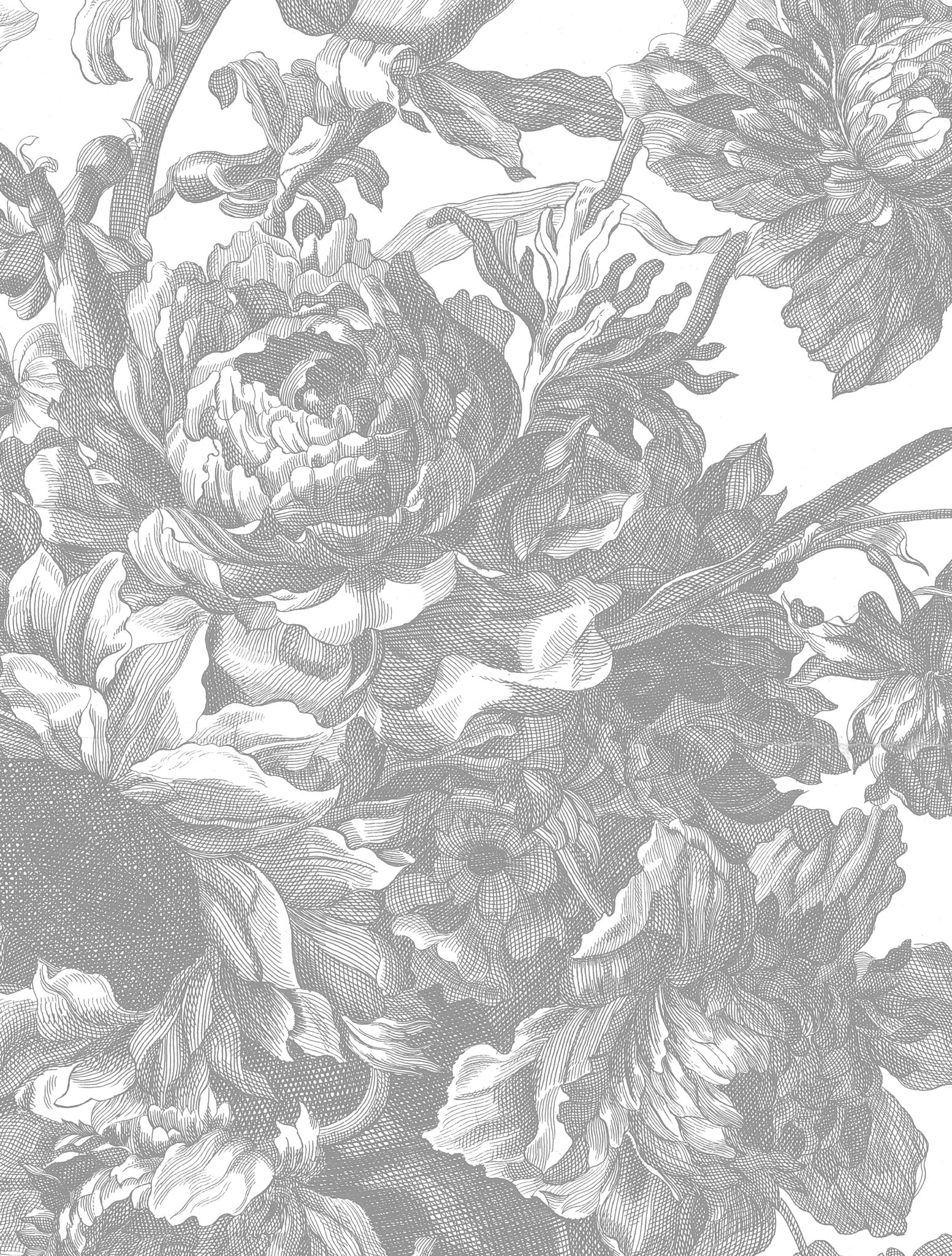 Behang Engraved Flowers 142.5x180cm-4