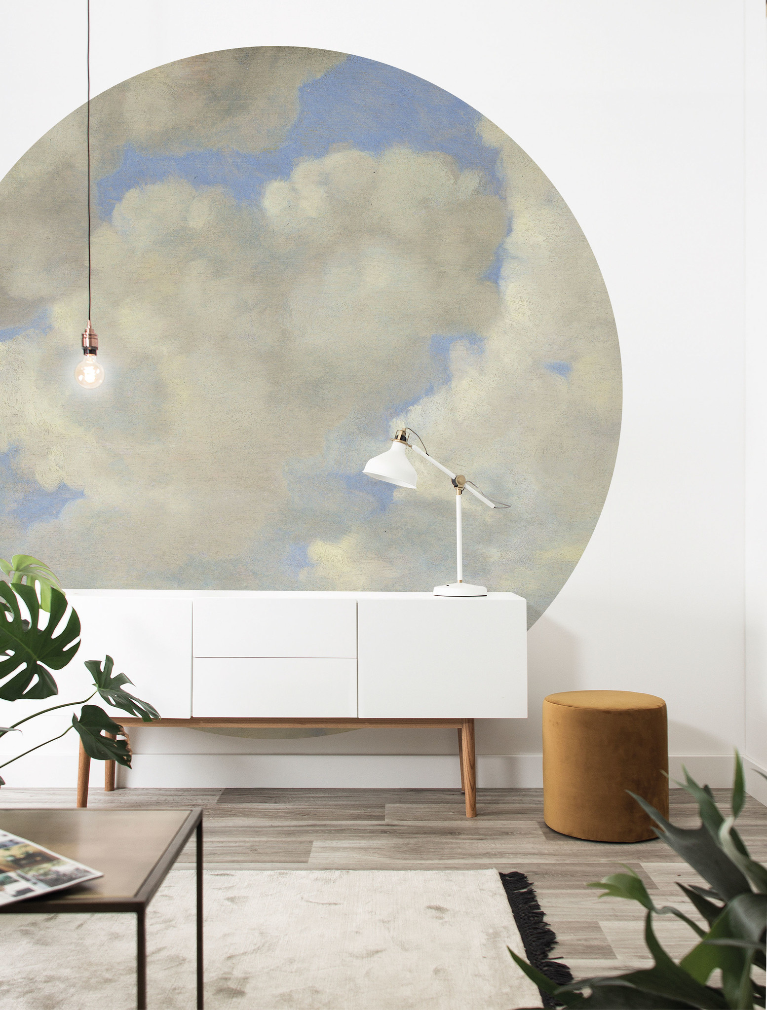 Behang Golden age clouds XL Round Ø237.5cm-2