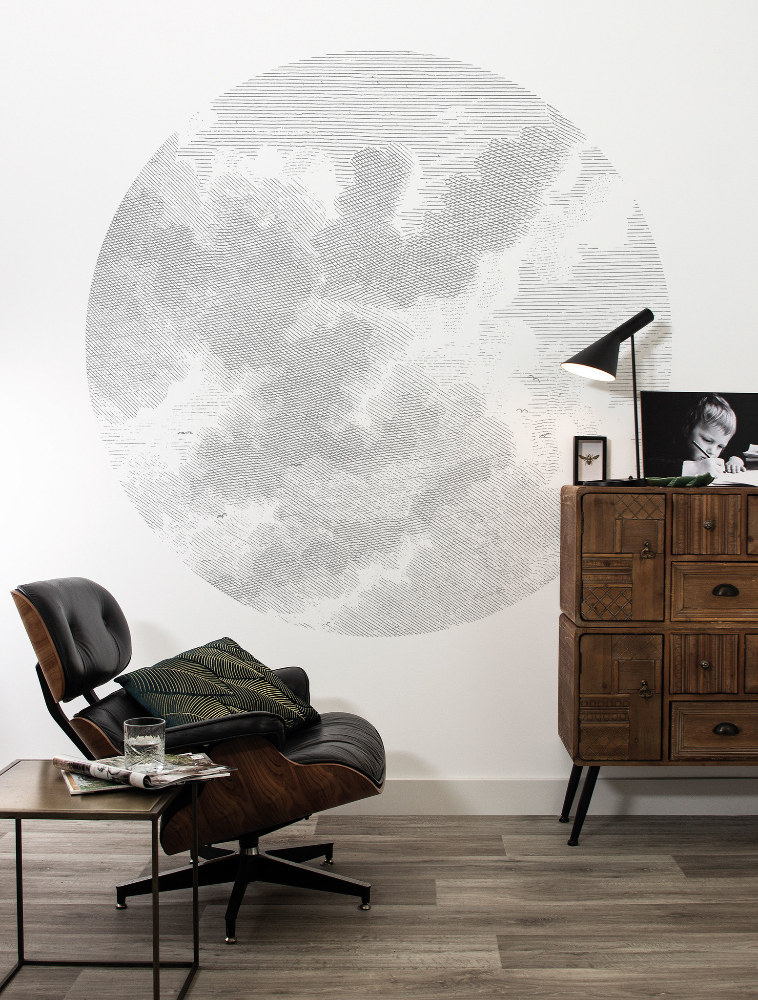 Behang Engraved clouds Round Ø190cm-2