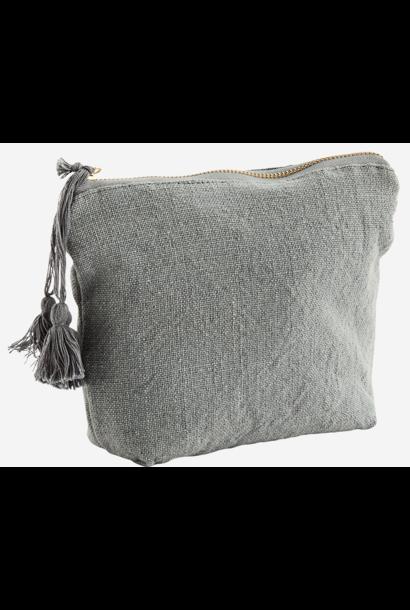 Toilettas cotton tassels 20x14cm Grey