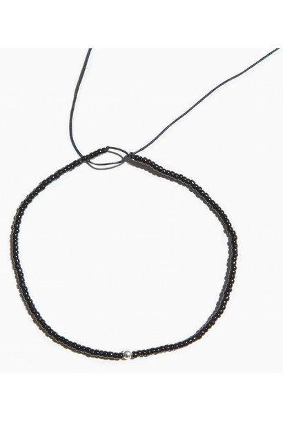 Armband Black Mini Bead String Sterling Silver