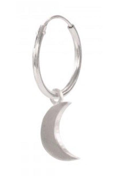 Oorbel PER STUK Big Moon Sterling Silver Hoop