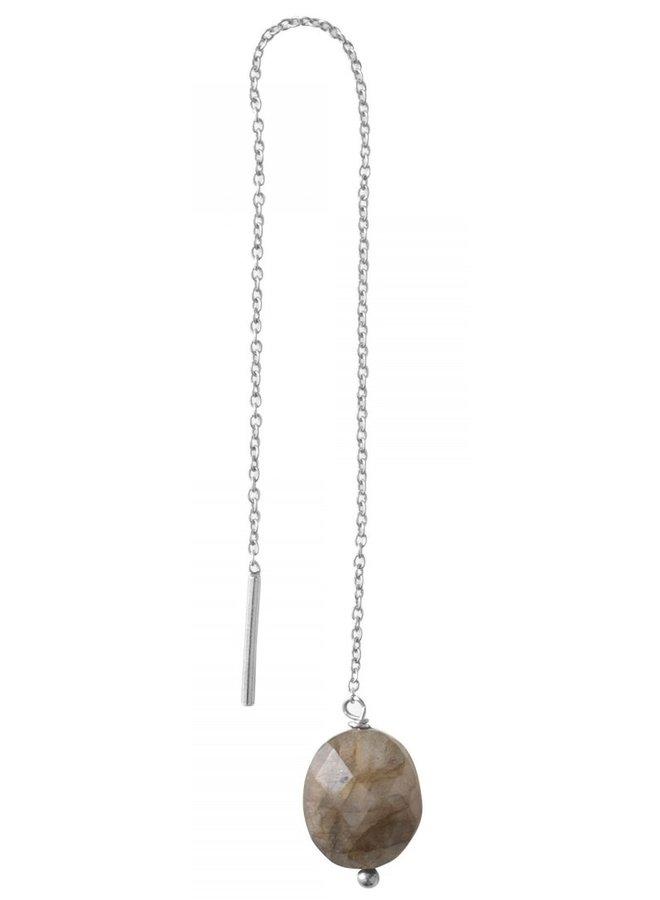 Oorbel PER STUK Elegant Labradorite Sterling Silver