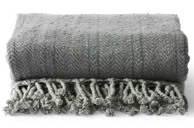 Woondeken brushed cotton throw 130x170cm Grey Purple-3