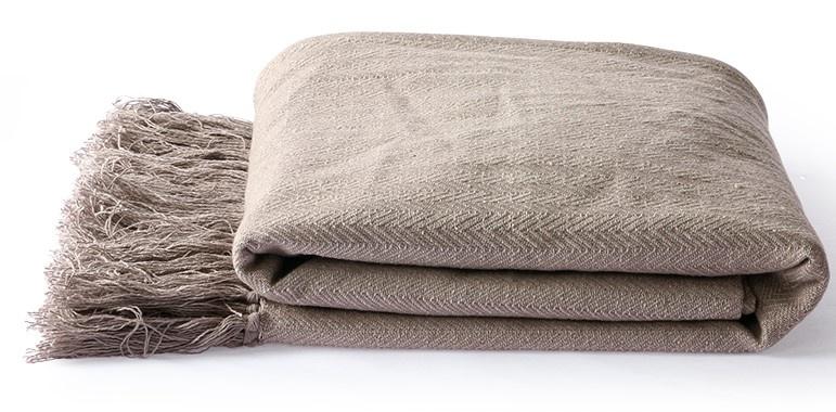 Woondeken cotton zigzag throw 130x170cm Taupe-3