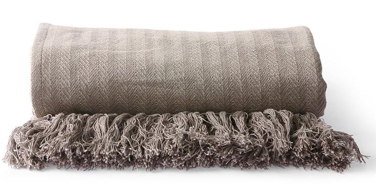 Woondeken cotton zigzag throw 130x170cm Taupe-2