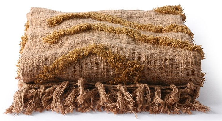 Woondeken cotton fringe pattern throw 130x170cm Brown-3