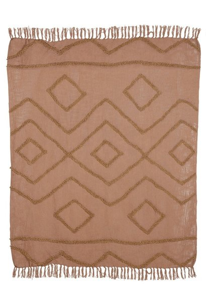 Woondeken cotton fringe pattern throw 130x170cm Brown