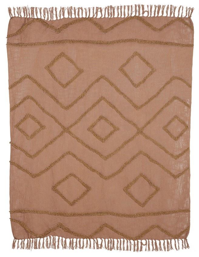 Woondeken cotton fringe pattern throw 130x170cm Brown-1