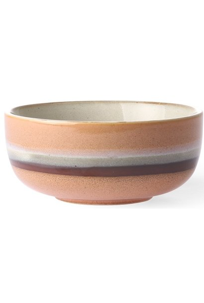 Kom ceramic 70's tornado 11x5cm Peach Brown